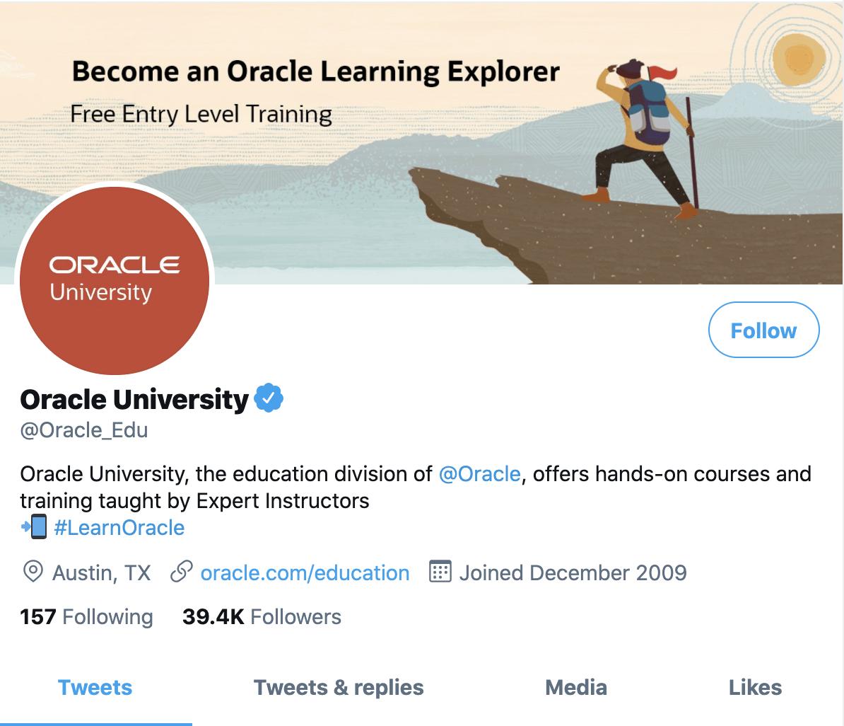 Oracle University Twitter handle
